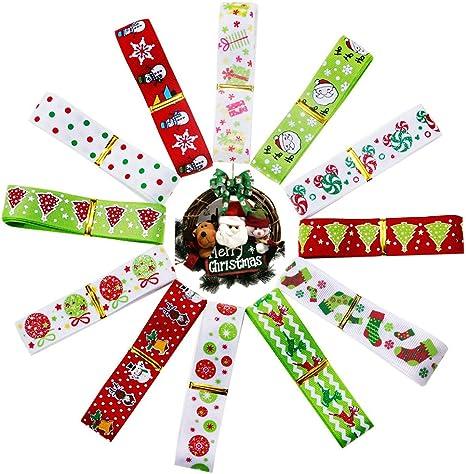 "7//8/"" Christmas Trees /& Snowflakes on Red Merry Christmas Grosgrain Ribbon"