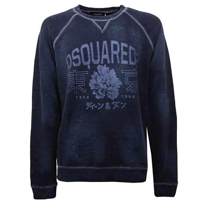DSQUARED C0818 Felpa Uomo Blu Vintage Effect Sweatshirt Men  Amazon.it   Abbigliamento 1d9a133754c6