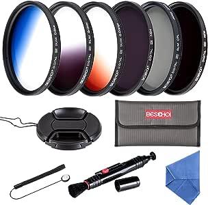Beschoi - 67mm Filtro de Camára Lente, Packs de Filtros Fotográficos para Nikon Canon EOS DSLR Cámaras (11 PCS Incluye CPL ND4 ND8 + Ultra Delgado Graduado Naranja Azul Gris Filtros +