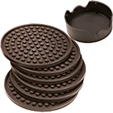 ENKORE Coasters Set of 6 With Holder, Espresso Brown - Protect All Types Of Furniture Surface From Water Damage And Scratch - Bigger Than Standard Size, Stay Put, Functional On Both Sides