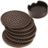 ENKORE Coasters Set of 6 with Holder, Coffee Brown