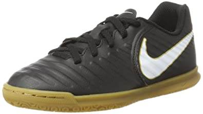 Nike Kids Jr Tiempox Rio IV (IC) Indoor Soccer Shoe Black White Size 0d8682fb8