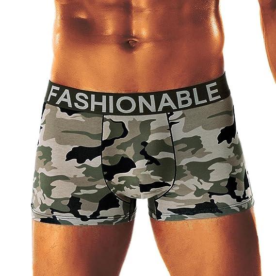 020f5d841ddd Bóxer Hombre, Lenfesh Calzoncillos de Camuflaje Hombres Calzoncillos  Pantalones Cortos Ropa Interior de Camuflaje Sexy