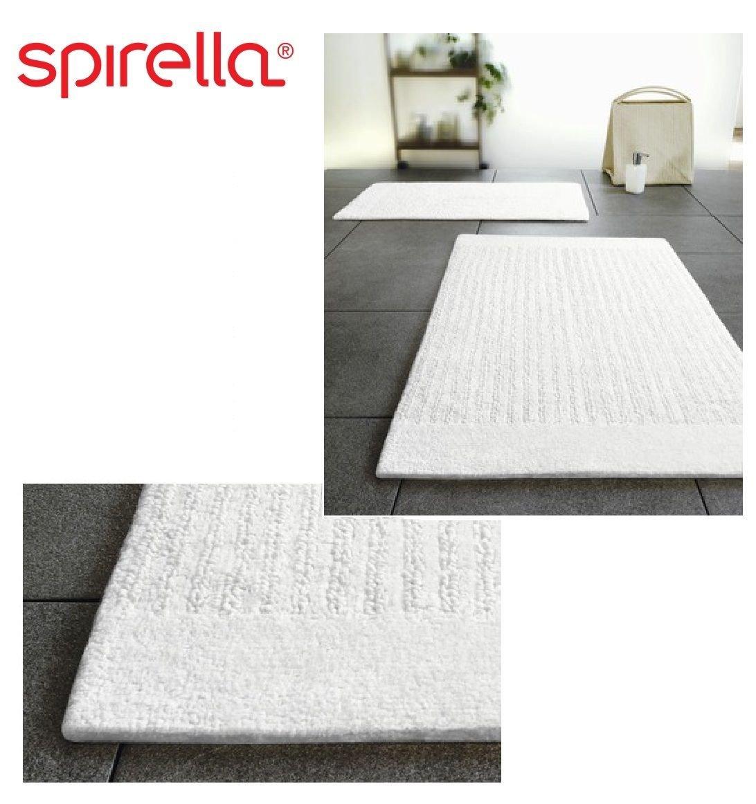 Amazon.com: Spirella Linea White Bath Rug Bath Mat Reversable 20x31 ...
