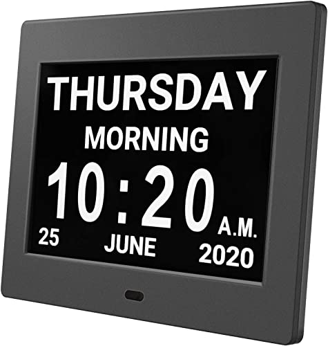 HUANUO Digital Calendar Alarm Day Clock – with 8 Large Screen Display, am pm, 5 Alarm, Dementia Clocks for Alzheimers Sufferers Elderly Seniors Memory Loss Impaired, for Desk, Wall Mounted Black