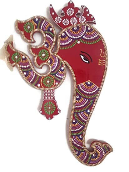 Lovely Indian Wall Decor Artwork From India   Hindu God Ganesh With Om Wall  Hanging Painting