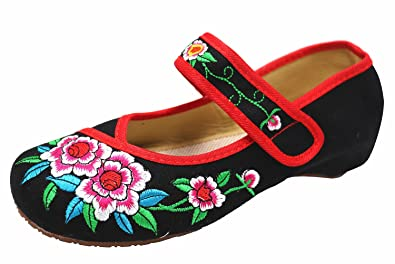 Icegrey Damen Gestickten Blumen Mary Jane Oxford-Schuhe  37 EUSchwarz
