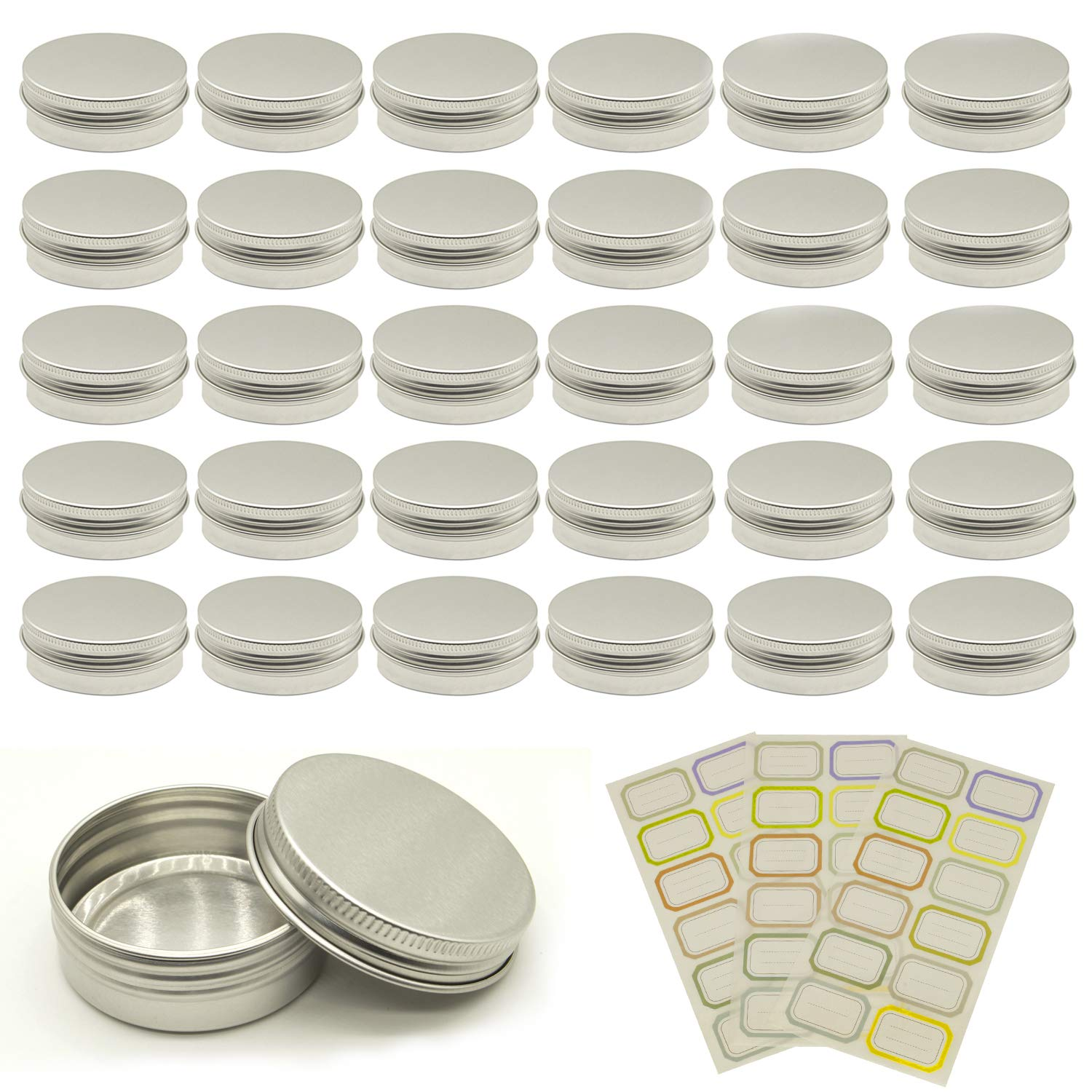 BEAVO 30 Pcs Aluminum Tin Cans (1oz & 2oz) Tins Containers Metal Tins with Lids Screw Cans and 36 Self-Adhesive Stickers Covering