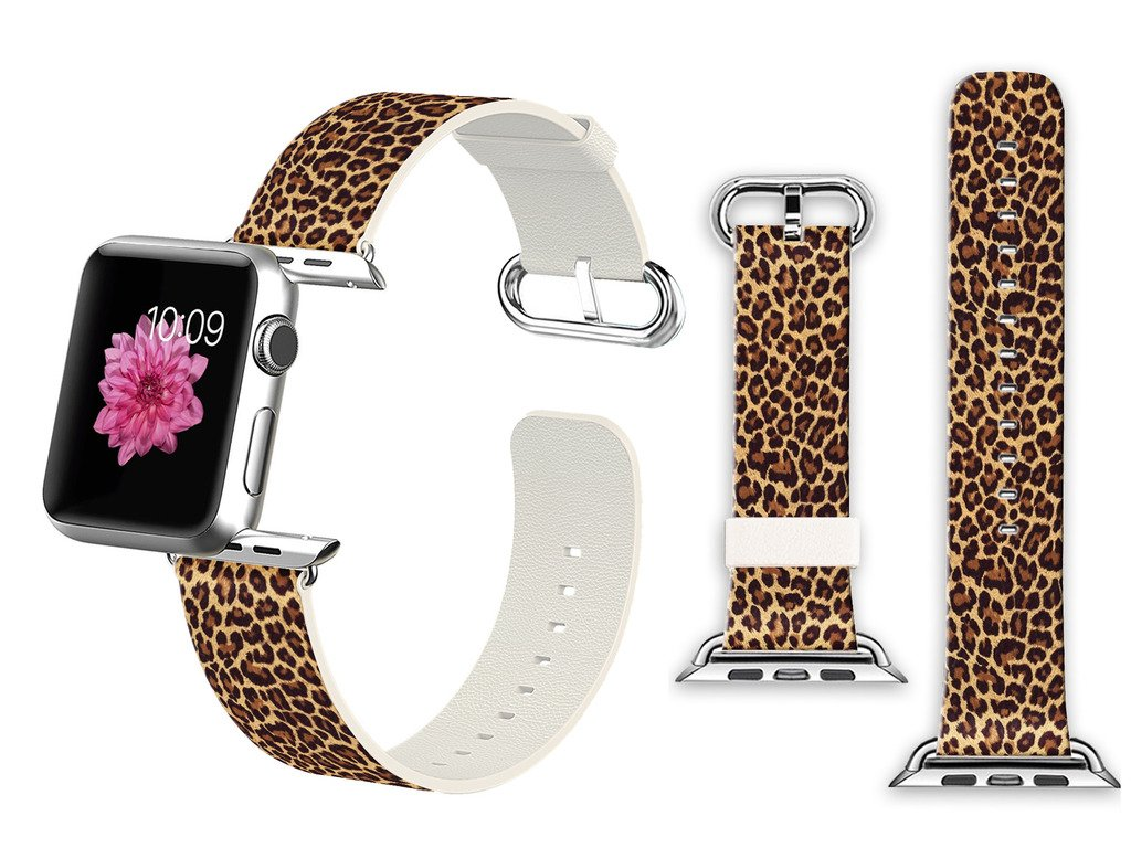 Viwell For 42mm Apple Watch Band Soft Leather Sport Style Series 2 Series 1 Men Women Wrist Strap Replacement - Classic leopard