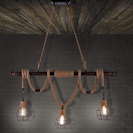 Lámpara de techo industrial con jaula de araña de cuerda de luz de ...