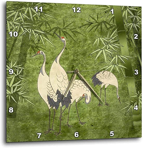 3dRose dpp_20895_1 Cranes in Bamboo Forest-Wall Clock, 10 by 10-Inch