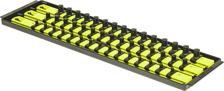 19-Inch Ernst Manufacturing 8460HV Socket Boss 3-Rail Multi-Drive Socket Organizer High-Visibility