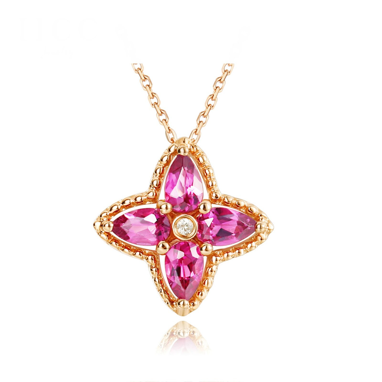 Daesar 18K Gold Necklace For Women Flower Water Drop Tourmaline Necklace Rose Gold Chain Length: 40+5CM