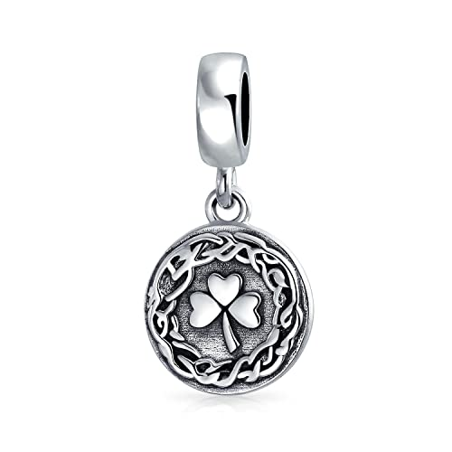 e82cd7851 Image Unavailable. Image not available for. Color: Celtic Knot Lucky Leaf  Clover Shamrock Irish Round Disc Dangle Bead Charm ...