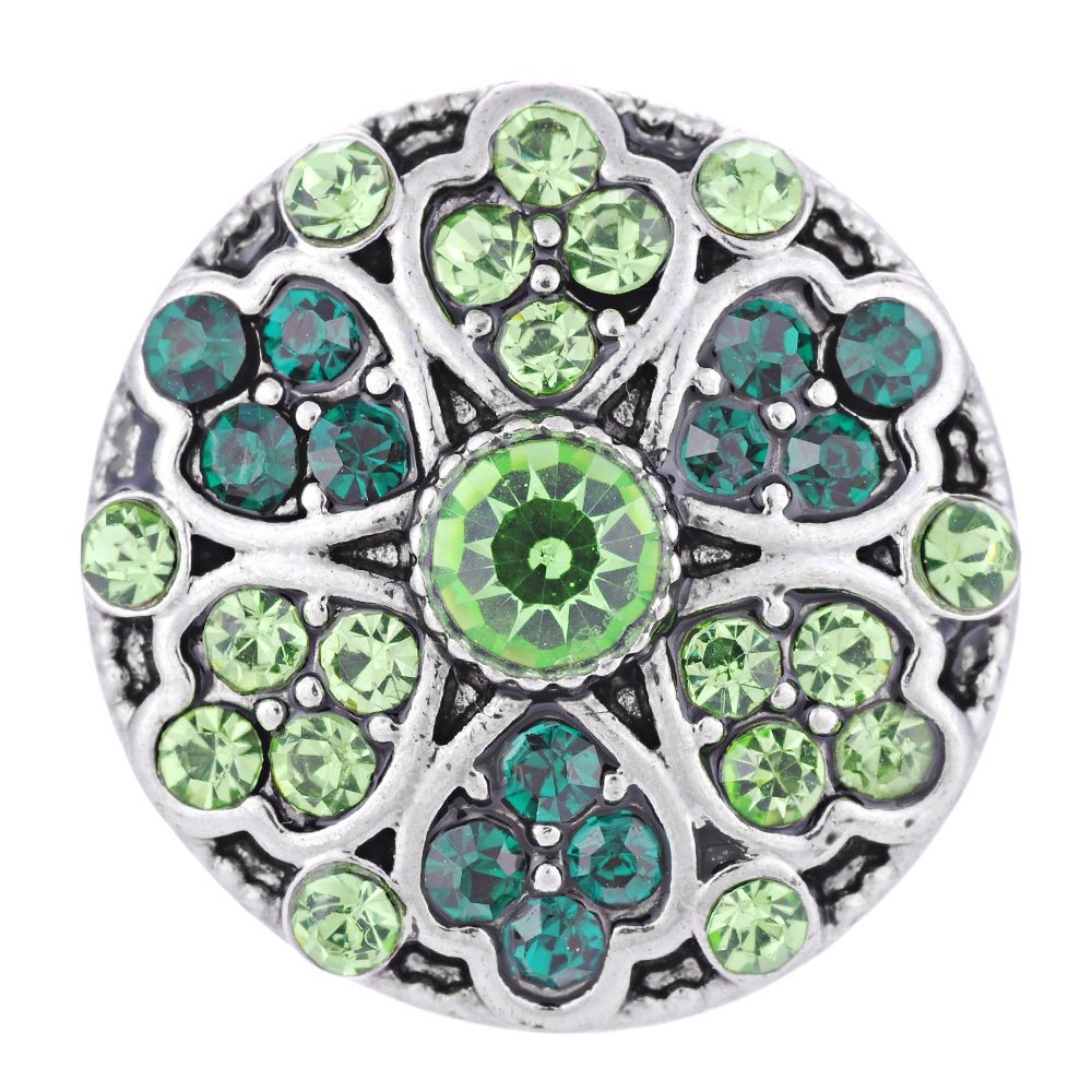 Vocheng Snap Jewelry 4 Colors Blossom Lucky Charm Button Vn-1306 Pack 2pcs Green