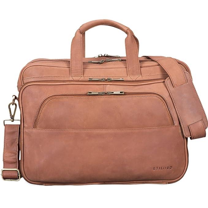 fd2bbc2dde78d STILORD  Artemis  Vintage Lehrertasche Leder Aktentasche Herren Damen  Businesstasche groß für zwei Aktenordner 15