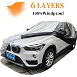 XicBoom SUV Car Cover 6 Layers, Waterproof All Weather Car Cover with Zipper Door, Indoor/Outdoor Full Cover, Sun Rain…