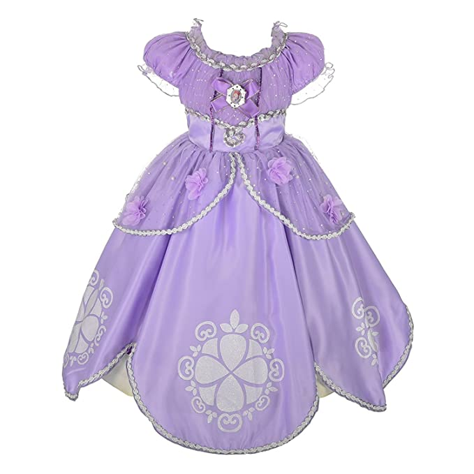 ccf62d8727e3d Rizoo Little Girls Fancy Long Summer Dresses with Floral Appliques Princess  Sofia Costumes Birthday Party Dress
