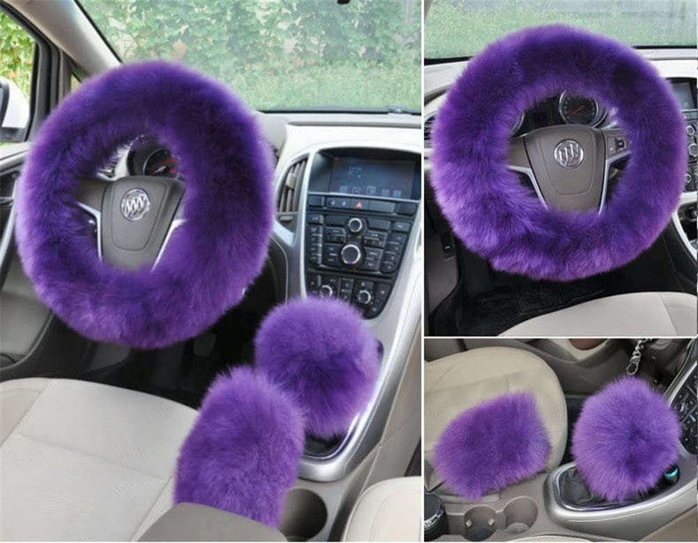 Pink Silence Shopping 3Pcs Fashion Steering Wheel Covers Winter Warm Australia Pure Plush Soft Wool Handbrake Cover Gear Shift Cover Guard Truck Car Accessory 14.96x 14.96 1 Set