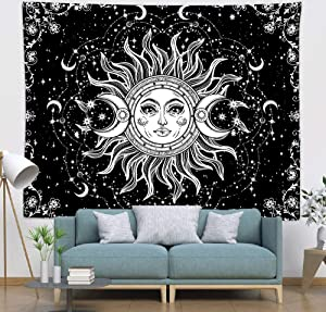 COLORPAPA Sun and Moon Tapestry Black White Sun with Stars Psychedelic Wall Hanging Art Decor Tapestry for Living Room Bedroom Dorm Office 59x51 Inches