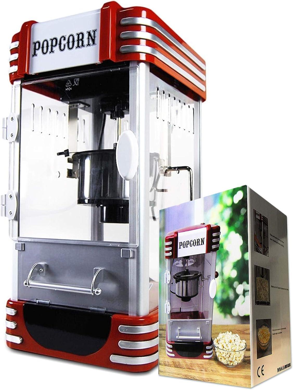 Mikamax - Retro Popcorn Machine - Deluxe - Cinema Popcorn Maker - Rojo - 50 cm - con Receta
