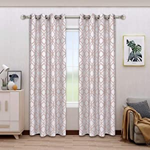 BONZER Linen Textured Diamond Print Curtains - Light Filtering Grommet Window Drapes for Bedroom, Living Room, 52 x 95 Inch, Blush, Set of 2 Panels