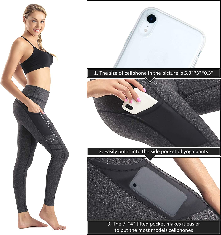 Sunzel High Waist Yoga Capris Tummy Control Workout Running Leggings Out Pocket 4 Way Stretch Yoga Pants Black
