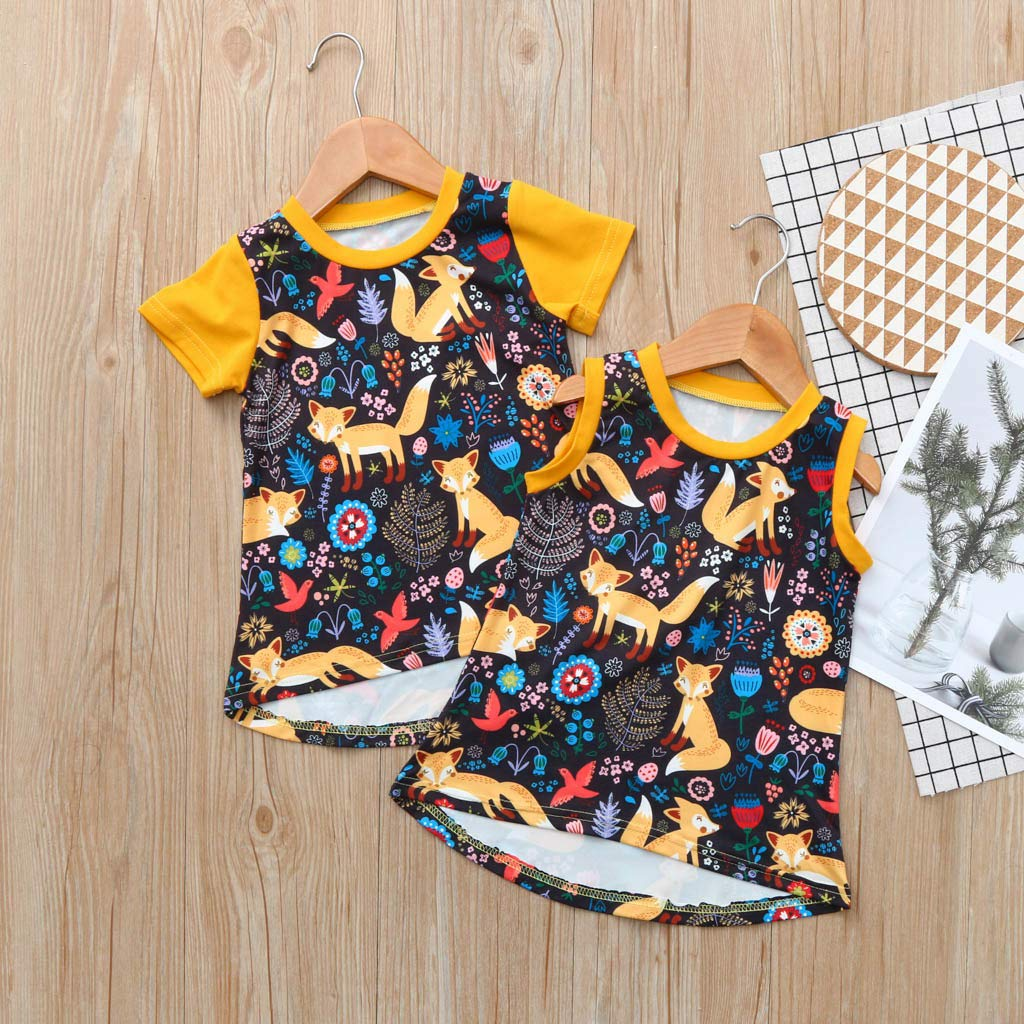 SiQing Summer Kids Backless Sleeveless Fox Print Sundress Princess Dress Casual Baby Outfits for 0-4 Years