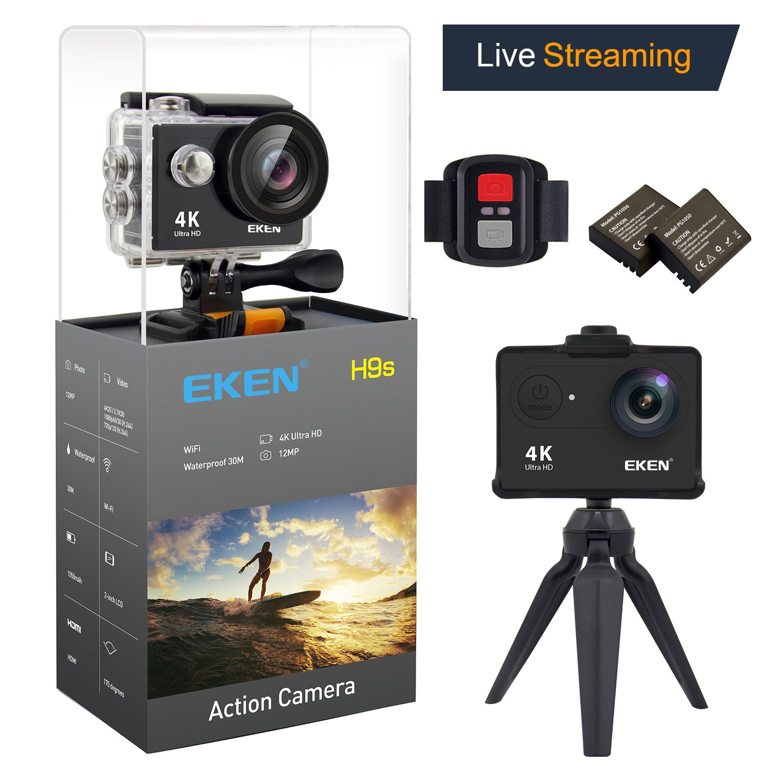 EKEN H9s Action Camera Live Streaming 4K WiFi Ultra HD Waterproof Sports Camera 2 Inch LCD Screen with 2 Rechargeable 1050mAh Batteries and Charging Dock including 11 PCS Mounts