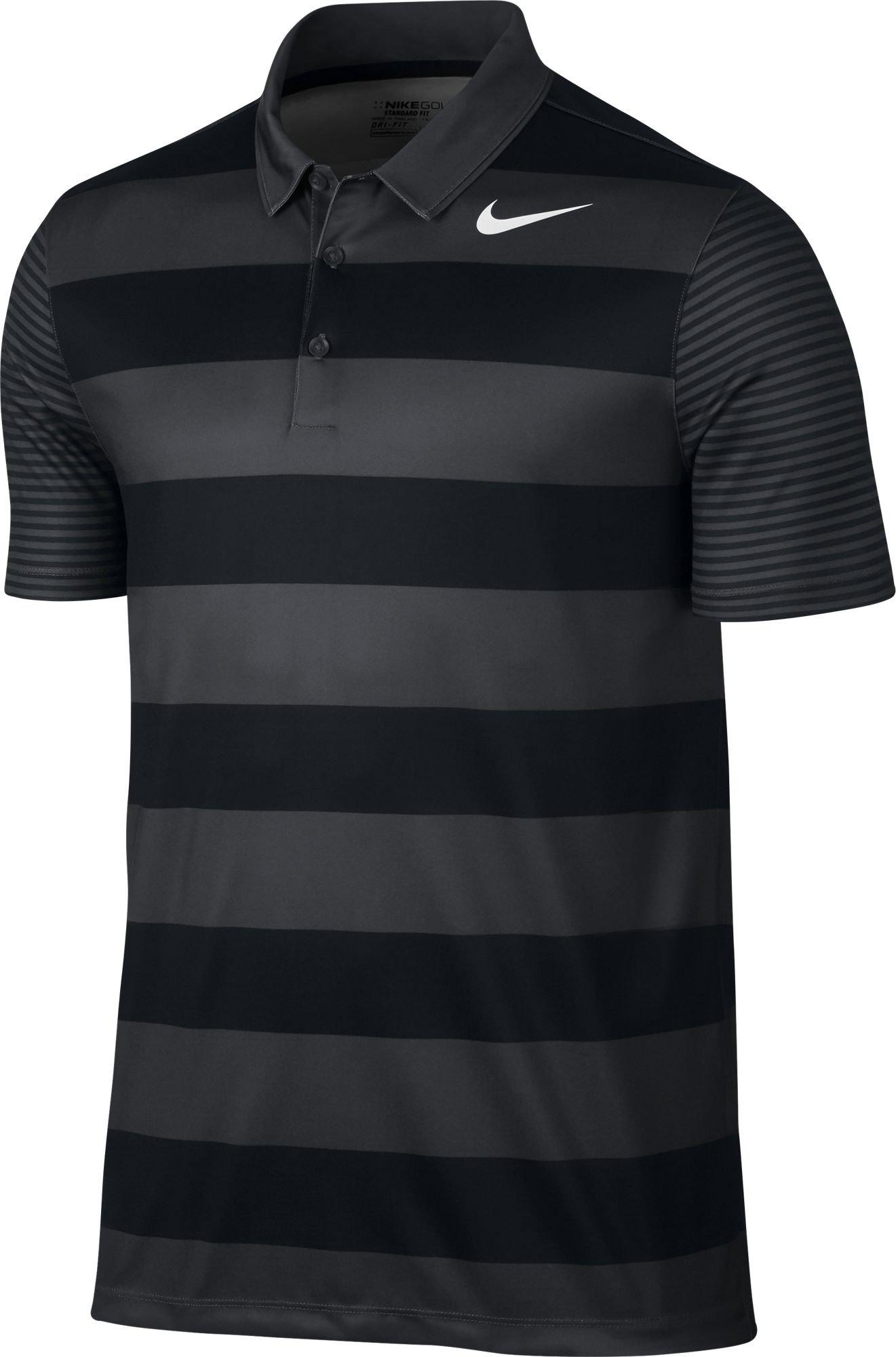 NIKE Men's Dry Bold Stripe Golf Polo (Black/White, Small)