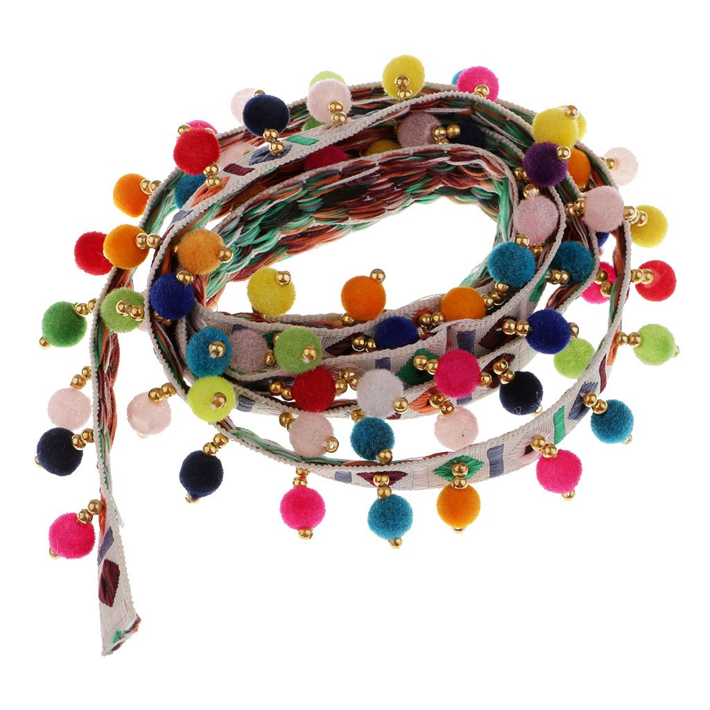 1yard Jacquard Tassel Pompom Beads Lace Embellishment Handcraft Colorful Trim