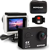 """4K Action Camera, ABOX Anti-Shake Waterproof WiFi Sport Camera with 170 degree Ultra Wide Lens, Full HD 2.0""""Display, 2.4G Wireless RF Controller, 2Pcs 1050mah Batteries and Multiple Mount Accessories"""
