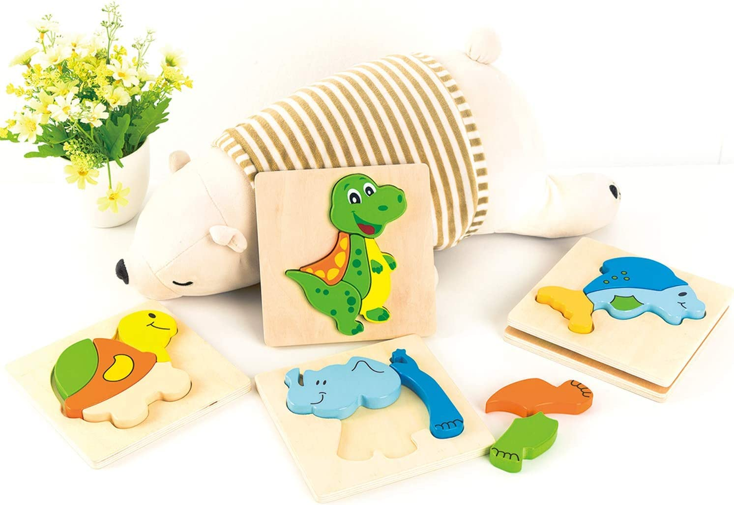 TOYPAL Animal Toddler Wooden Puzzles for 2 Year Old Toy for 1 Year Old 2 Year Old Boy Gifts 5 Pack