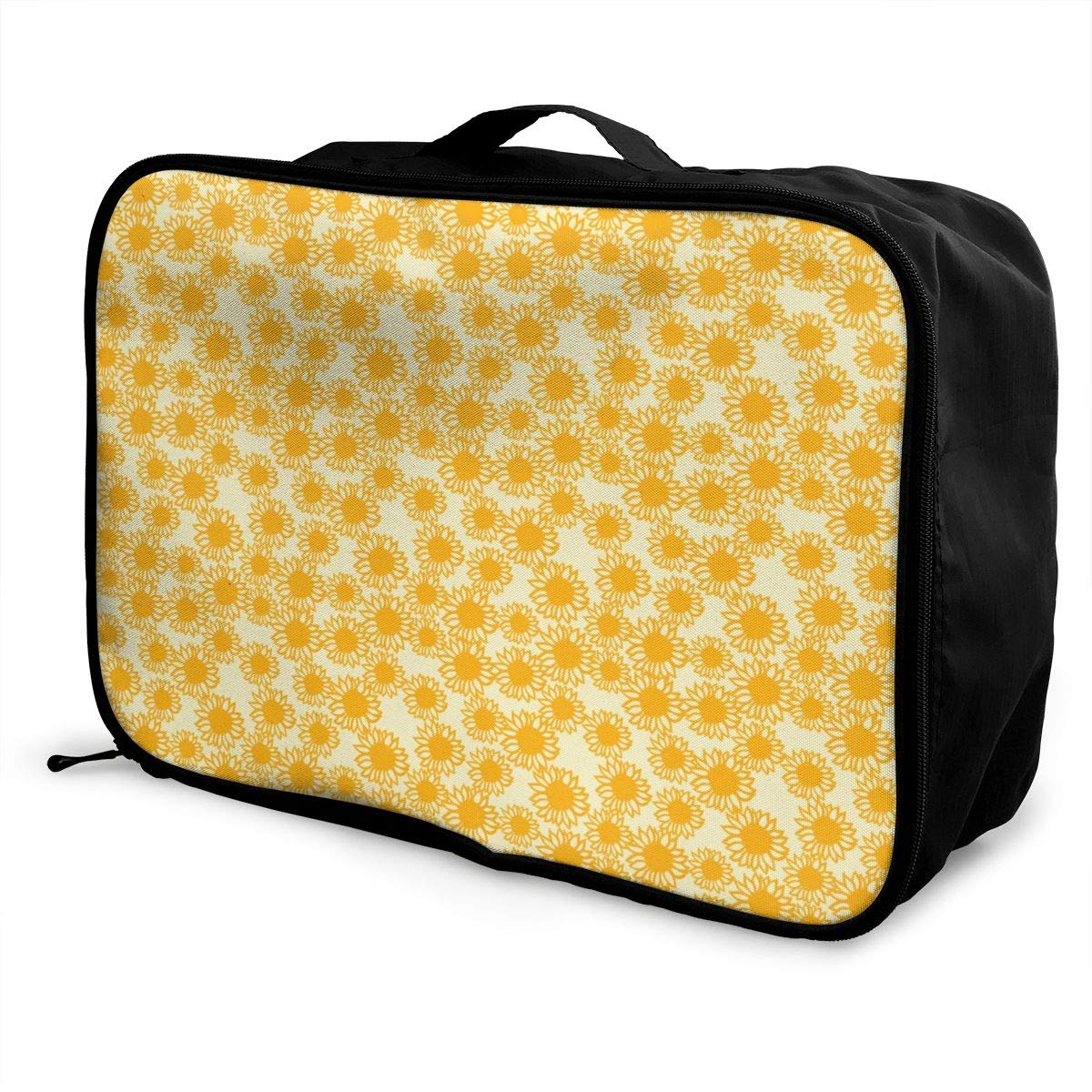 Yellow Sunflower Lightweight Large Capacity Portable Luggage Bag Travel Duffel Bag Storage Carry Luggage Duffle Tote Bag