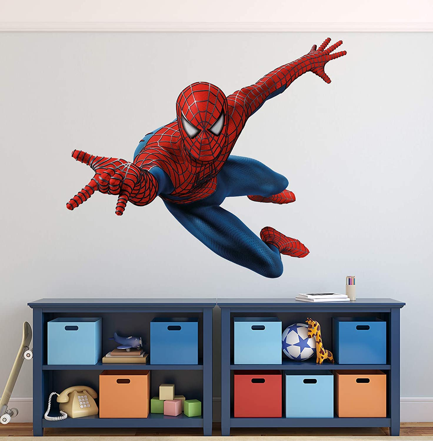 Superhero Wall Decals Boys Kids Room Wall Decor Spider Man Wall Art Decal Custom Gift Mural Poster Mural Vinyl Wall Stickers for Kids Room Peel & Stick Removable (44