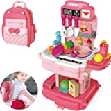 Play Kitchen, Pretend Play House Kitchen Backpack, Toy Backpack 2 in 1, 34pcs Simulation Props, Removable and Easy to…