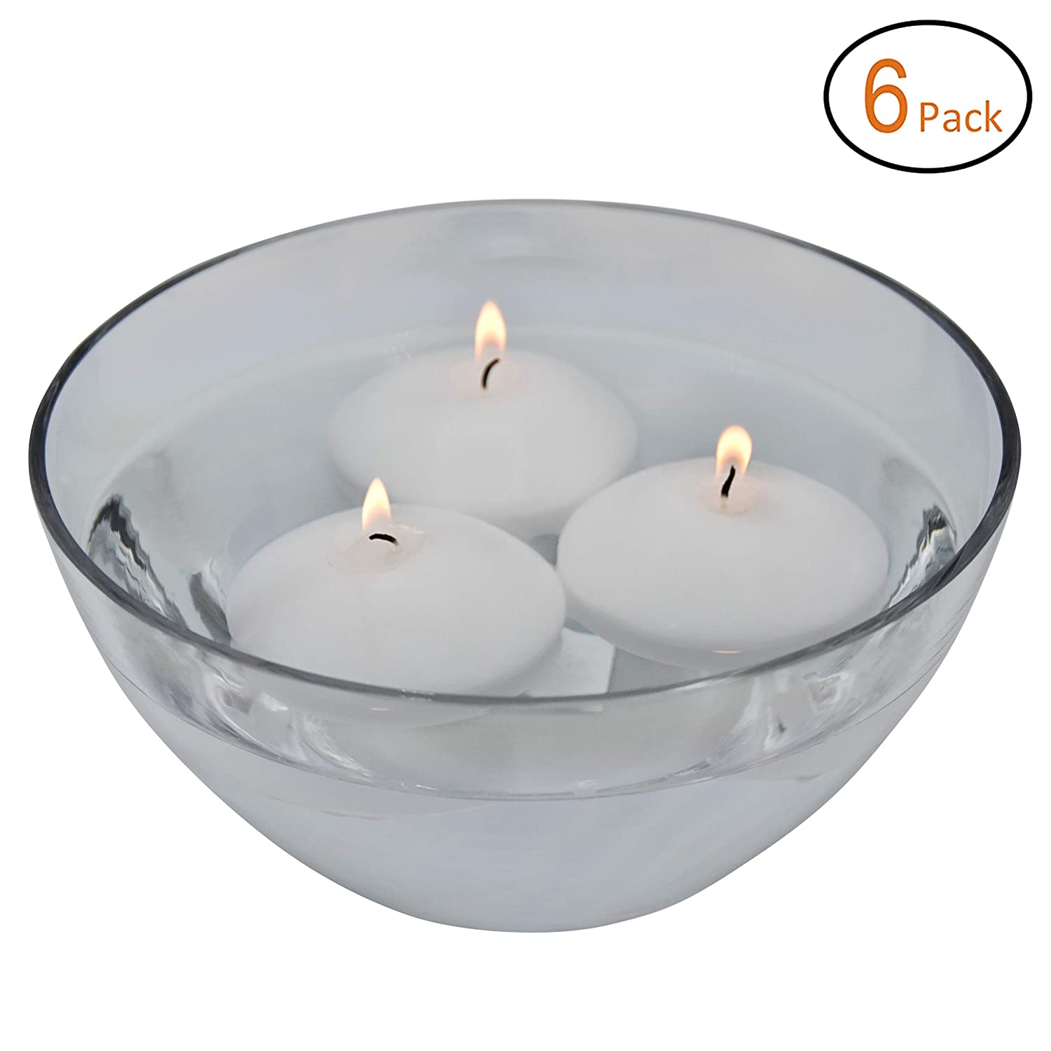 3 Inch Decorarive Candle Floating Candles Unscented Discs for Wedding Ivory Pool Party Set of 6 Holiday /& Home Decor