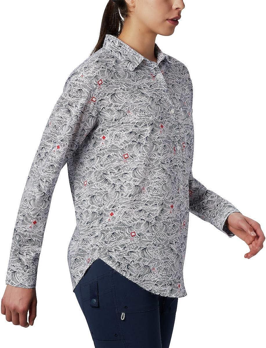 Columbia - Sun Drifter II Long Sleeve Shirt, Sun DrifterTM II - Camicia a Maniche Lunghe Donna Collegiate Navy Buoy Waves Print