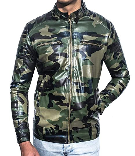 71434fe22 Glamio Men's Faux Leather Army Printed Jacket (Multi-Coloured ...