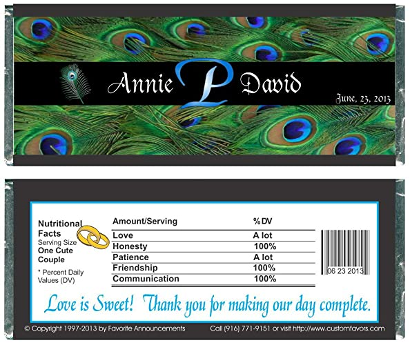 Amazon Personalized Peacock Theme Wedding Favor Candy Bar