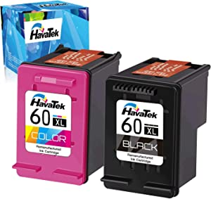HavaTek Remanufactured Ink Cartridge Replacement for HP 60 60XL (1 Black, 1 Tri-Color) Used for HP Photosmart C4700 C4780 C4795 C4680 C4600 D110a Deskjet F4235 F4480 F4580 D2680 F2430 F4400 Printer