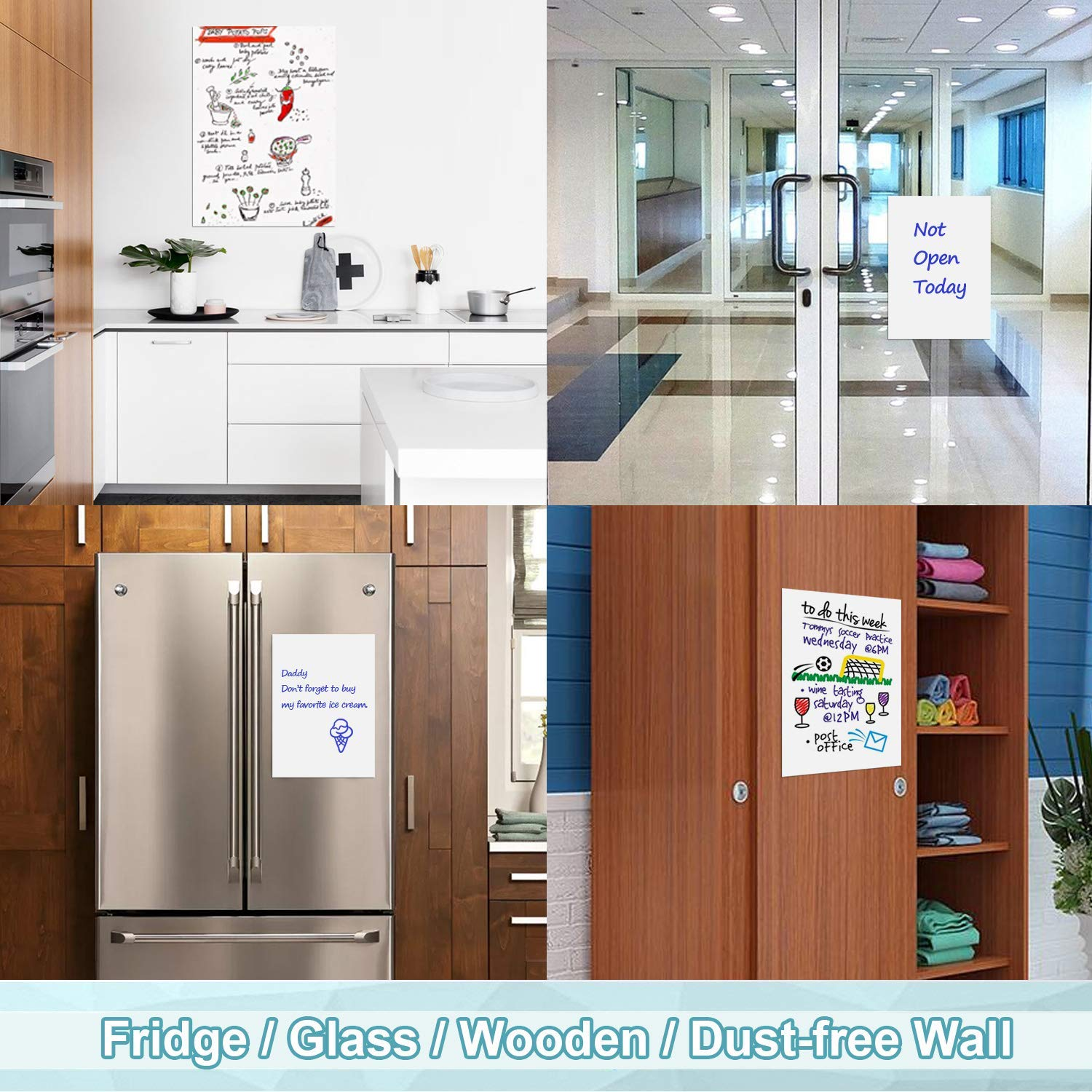 Wooden WOBEECO 2 Packs Dry Erase Board//Whiteboard 17x11 inch for Kitchen Fridge Dust-Free Wall Removable /& Tailorable Notice Board- 7 Magnetic Markers Glass 3 x Magnets Included
