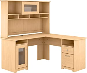 Bush Furniture Cabot L Shaped Computer Desk with Hutch, 60W, Natural Maple