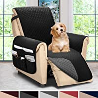 ASHLEYRIVER Reversible Recliner Chair Cover, Sofa Covers for Dogs,Sofa Slipcover,Couch Covers for 3 Cushion Couch,Couch Protector(Recliner Oversize:Black/Dark Grey)