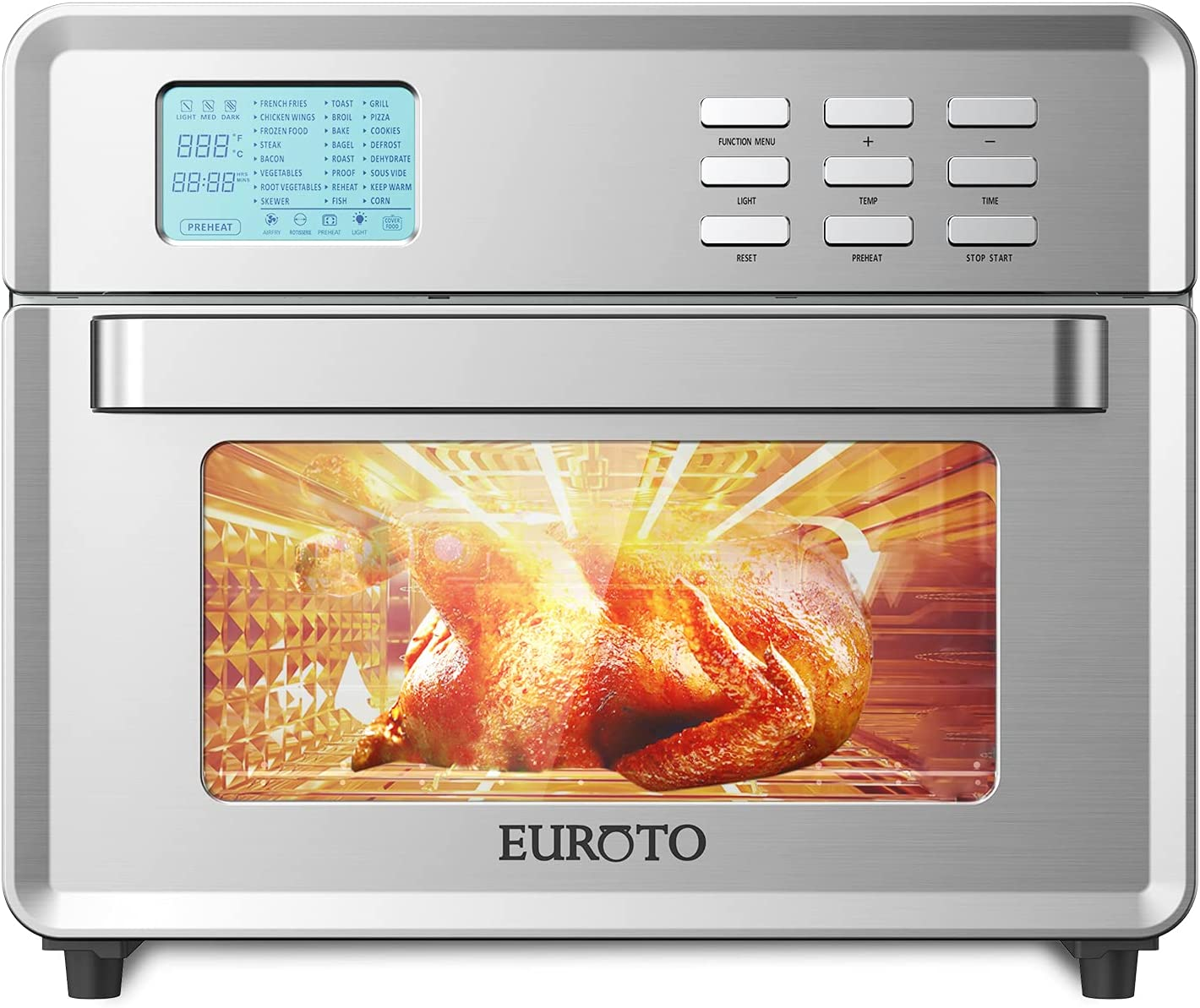 EUROTO Stainless Steel Large Capacity 26.8 qt Air Fryer Oven, 24 in 1 Multi-function 360 Air Circulation Toaster Oven LCD digital Display Glass Window 4 Layer Shelves Included Oven Gloves & Apron