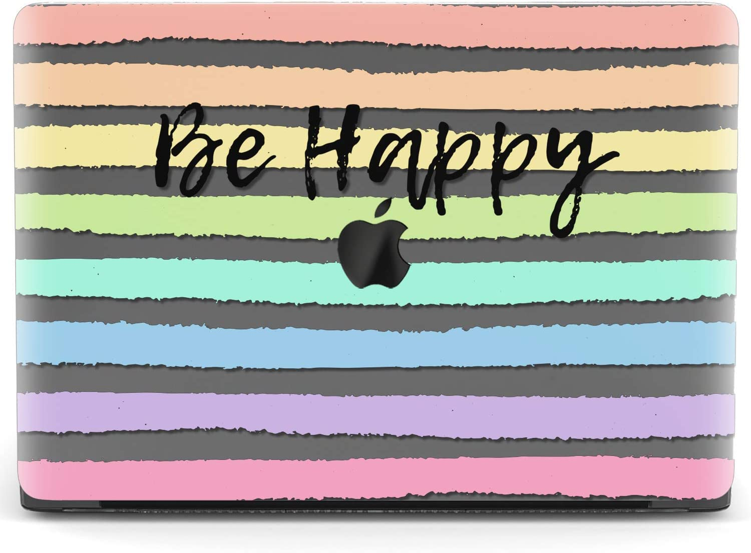 Mertak Hard Case for Apple MacBook Pro 16 Air 13 inch Mac 15 Retina 12 11 2020 2019 2018 2017 Striped Quote Plastic Rainbow Protective Be Happy Laptop Design Print Cover Clear Cute Touch Bar