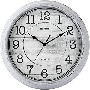 HYLANDA Retro/Vintage 12-Inch Kitchen Decorative Wall Clock, Silent Quartz Wall Cocks Battery Operated Non Ticking with Large Numbers Easy to Read for Home Bathroom Office(Grey)