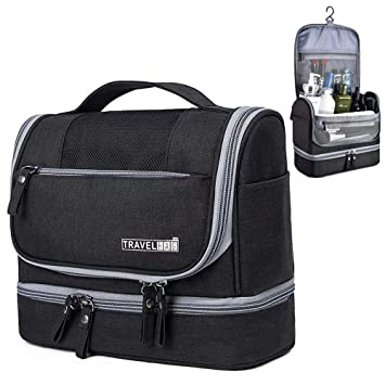 91ad469e11 Amazon.com   Hanging Toiletry Bag Large Travel Toiletry Organizer Portable Toiletries  Bag Women Men Waterproof Cosmetic Bag with Hook and Handle(Black)   ...
