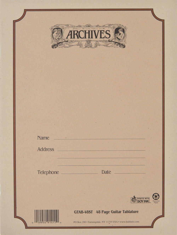 D'Addario Cuaderno pentagramado Archives con encuadernación común, tablatura para guitarra, 48 páginas (GTAB-48ST)
