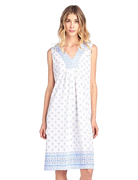 7312379108 Casual Nights Women s Fancy Printed Sleeveless Nightgown - Blue - Small